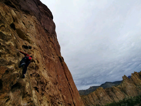 Andy climbing his second route at Smith Rock's Red Wall