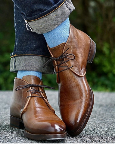 Antonio Meccariello / Yeossal Tyersall Chukka Boots in Horween Hatch Grain polished with Cleaner Conditioner and Cream Polish Pointed Toe Front View
