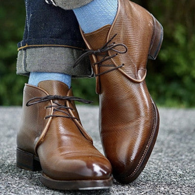 Antonio Meccariello / Yeossal Tyersall Chukka Boots in Horween Hatch Grain polished with Cleaner Conditioner and Cream Polish