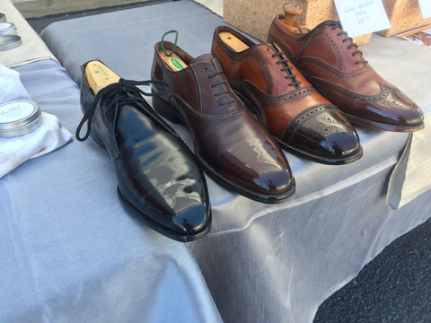 Top Left view of Shoe Shine Group Crockett & Jones Derby, Navyboot Calfskin Oxford, Allen Edmonds Strand with custom patina, and Vintage Florsheim Imperial Wingtips