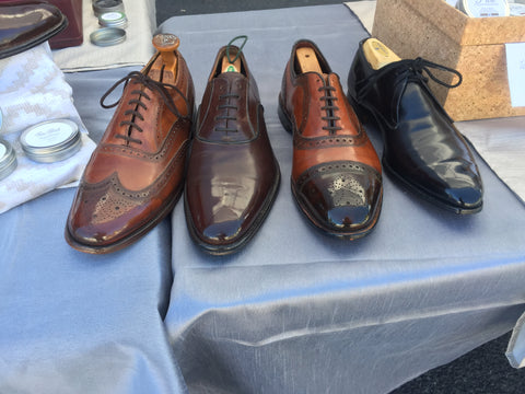 Front Center View of Shoe Shine Group Crockett & Jones Derby, Navyboot Calfskin Oxford, Allen Edmonds Strand with custom patina, and Vintage Florsheim Imperial Wingtips