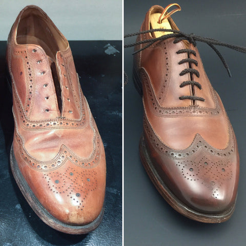 Before and After on a pair of Vintage Florsheim Imperial Wingtips