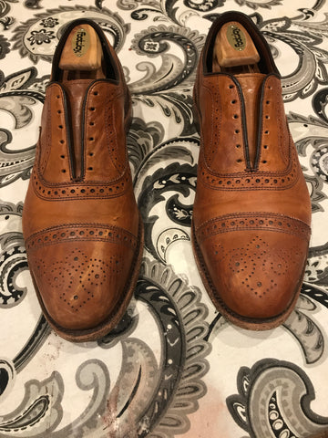 Before Picture Allen Edmonds Strands Scratched and Scuffed Leather Cap-toe