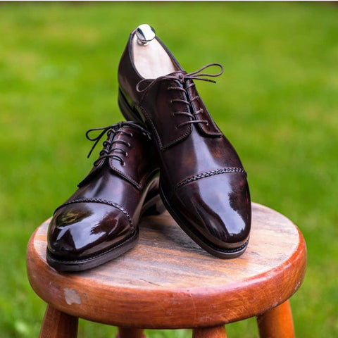 Mirror Shined Bontoni Braided Cap-Toes in Dark Brown by Mr.Renworks