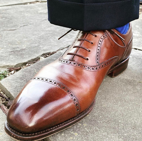 Carmina Shoemaker Brown Calfskin  Oxford, Cap Toe, Semi Brogue Shoe