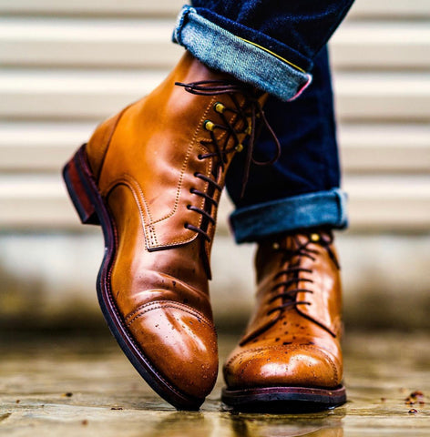 Carmina Shoemaker Brown Shell Cordovan  Derby, Cap Toe Boot