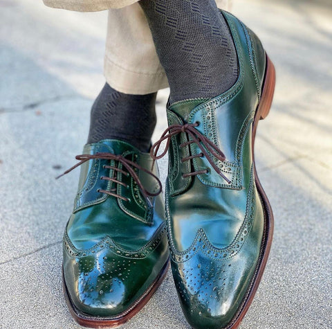 Carmina Shoemaker Forest Green Shell Cordovan  Derby, Wingtip, Quarter Brogue Shoe