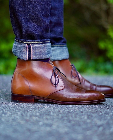 Carmina Two-Tone Shell Cordovan and Unlined Scotch Grain Chukka Boots with Water Resistant Cream and Cream Polish - side profile