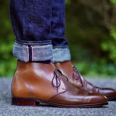 Carmina Two-Tone Shell Cordovan and Unlined Scotch Grain Chukka Boots with Water Resistant Cream and Cream Polish