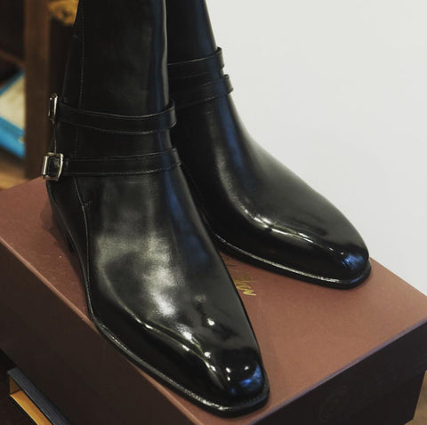 Cino TSS Vietnamese Black Jodhpur Harry Walker Boots Mirror Shined with High Shine