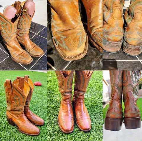 Dapper Desert Shoes Restored Womens Cowboy Boots with Cleaner Conditioner