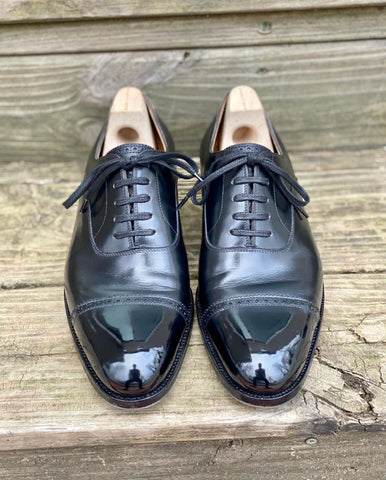 David Levin Saint Crispins Black Aniline Calf Cap-toe Oxfords Mirror Shined with High Shine