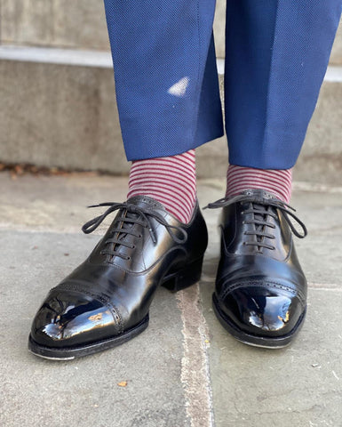 Mirror Shined Saint Crispins Black Aniline Calf MTO Cap-toe Oxfords