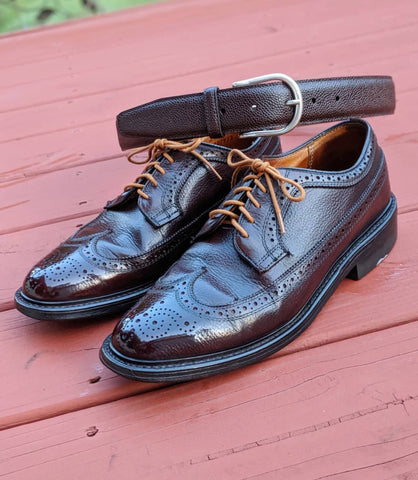 Dexter Pebble Grain Longwings Shined by Michael Baldinger (@mbshoedoc)