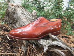 Mirror Shined Allen Edmonds Walnut Weybridge Oxford Leather Shoe on a log in the trees
