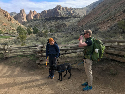 Friends about to Rock Climb at Smith Rock with dog
