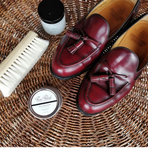 Herring Shoes Burgundy Tassel Loafers polished up by FUMU Singapore using Pure Polish Products and a Goat Hair Brush