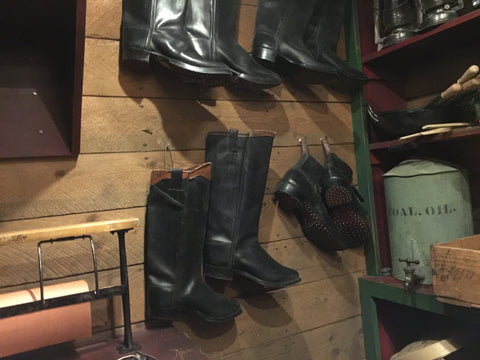 Black Leather Settler's Boots and one pair of Hob-Nailed Boots