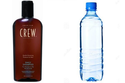 J Crew Shampoo and a bottle of water