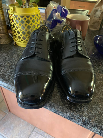 Mirror Shined with High Shine Bespoke Foster & Son Black Cap-toe Derby Shoes