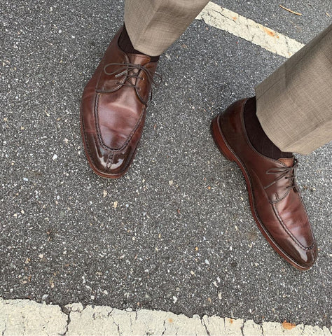 Mirror Shined with High Shine Burnished Allen Edmonds Parkway Split-toe Derbies