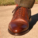 Loake Shoemakers Trinity Brown Calfskin Oxford Cap Toe Routine Care - Single Shoe Front