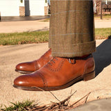 Loake Shoemakers Trinity Brown Calfskin Oxford Cap Toe Routine Care - turned left