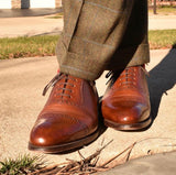 Loake Shoemakers Trinity Brown Calfskin Oxford, Cap Toe Routine Care