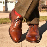 Loake Shoemakers Trinity Brown Calfskin Oxford Cap Toe Routine Care - crossed legs