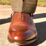 Loake Shoemakers Trinity Brown Calfskin Oxford Cap Toe Routine Care - Single left shoe