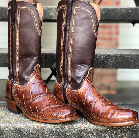 Lucchese Brown Crocodile Chiseled Toe Boot
