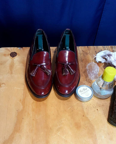 Mirror Shine on Burgundy Tassel Loafers by @ourshoeshine_blog
