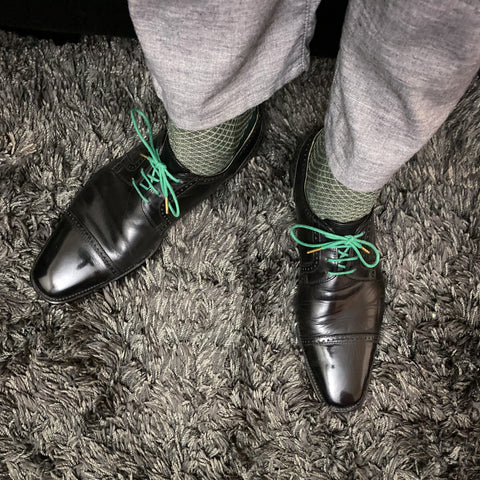 Mirror Shine on Black Nordstrom Derbies with Green Fintoco Dress laces, Green Viccel Dress Socks, and Grey Agave Denim Twill Slacks