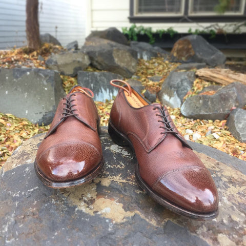 Mirror Shine Margate Derby Shoes High Shined with Fall Leaves in Background
