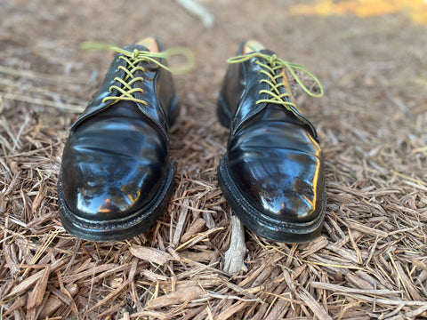Mirror Shine on a Vintage Pair of Cordovan Shell Bluchers