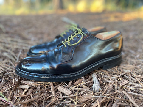 Vintage Cordovan Shell Blucher Derbies Mirror Shined Left Side Profile
