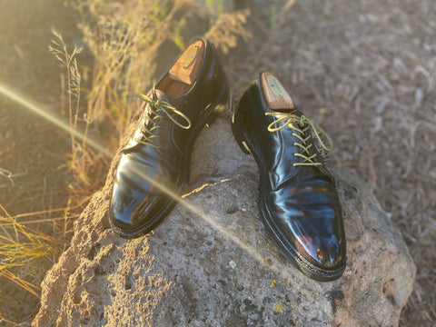 Sunset shining on a pair of Cordovan Shell Vintage Derbies