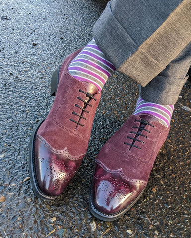 High Shine on Custom Purple Patina Vass London Adelaide Wingtips