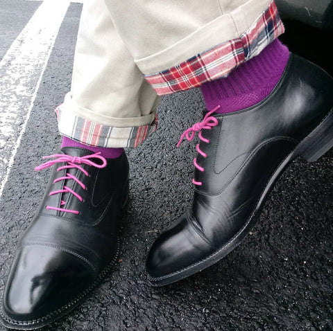 High Shine on Black Cap-toe Beckett Simonon Oxfords with Pink Laces