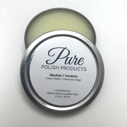Open Tin of Pure Polish Products Neutral Cream Polish