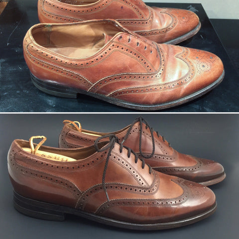 Before and After on a pair of Vintage Florsheim Wingtip Imperial Oxfords