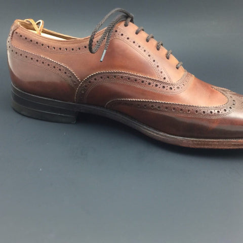 After Pure Polish Restoration - Left Shoe Inside Profile Vintage Florsheim Imperial Wingtip Full-Brogue Oxfords