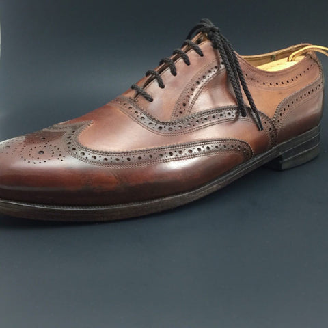 After Pure Polish Restoration - Left Shoe Side Profile Vintage Florsheim Imperial Wingtip Full-Brogue Oxfords