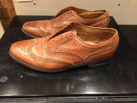 Before Picture - Side Profile of Vintage Florsheim Wingtip Full Brogue Oxfords