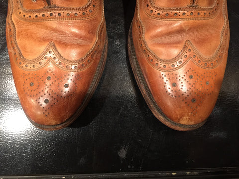 Before Picture - Toes of Vintage Florsheim Wingtip Full Brogue Oxfords