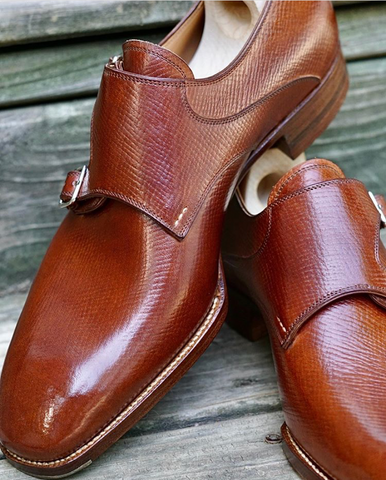 Saint Crispins Horween Mid-Brown Russian Hatch Grain Double Monkstraps conditioned with Cleaner Conditioner and soft shined with Cream Polish.