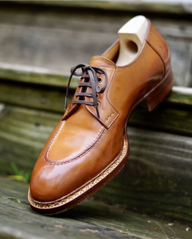 Saint Crispins Natural Shell Cordovan Apron Toe Derbies polished by DE Shellvedge