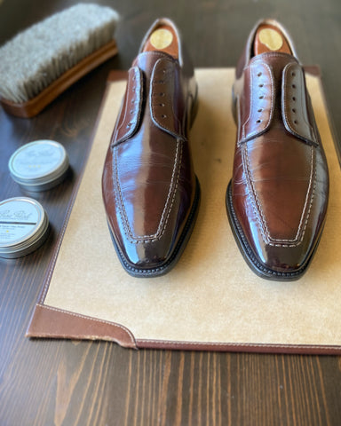 Restoring Santoni Dark Brown and Black Patina Leather Derbies