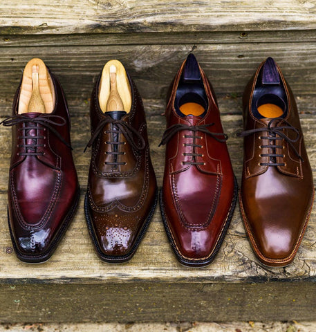 Shell Cordovan  Oxford, Derby, Wingtip, Apron Toe, Chiseled Toe Shoe