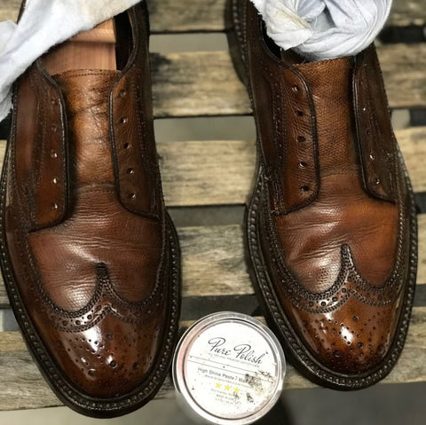 Mirror Shined with High Shine Vintage Florsheim Pebble Grain Long Wingtip Derbies